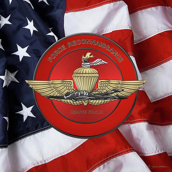 Wall Art - Digital Art - Marine Force Reconnaissance  -  U S M C   F O R E C O N  Insignia Over American Flag by Serge Averbukh