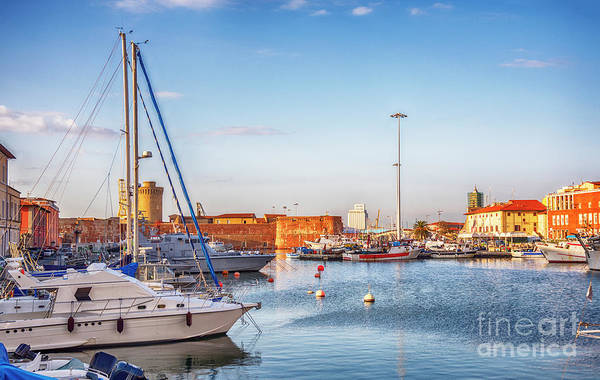 Photograph - marine harbor in Italian old town Livorno  by Ariadna De Raadt