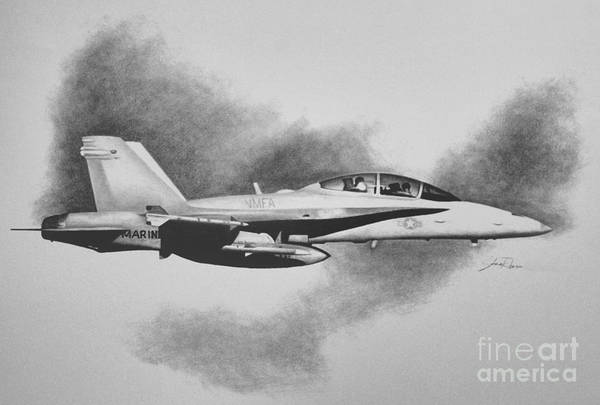 A-18 Hornet Wall Art - Drawing - Marine Hornet by Stephen Roberson