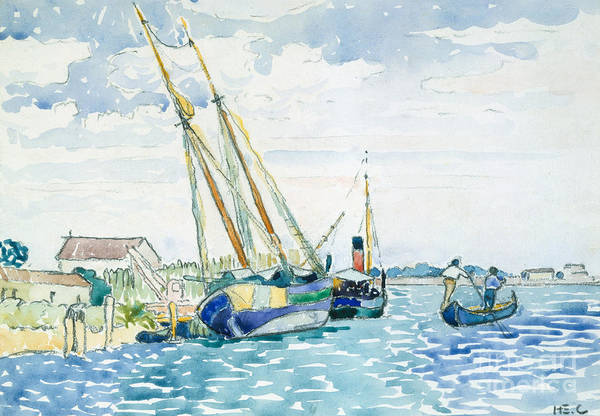 Wall Art - Painting - Marine Scene, Boats Near Venice, 1903  by Henri Edmond Cross
