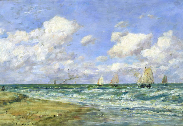 Coast Line Painting - Marine Scene by Eugene Louis Boudin