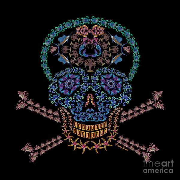 Digital Art - Marine Skull And Crossbones by Heather Schaefer