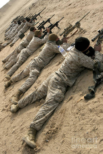 Sharpshooter Wall Art - Photograph - Marines Engage Targets During A Ten-day by Stocktrek Images