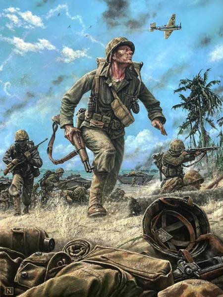 Wall Art - Painting - Marines In The Pacific by Dan Nance