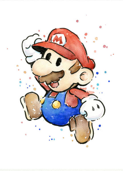 Wall Art - Painting - Mario Watercolor Fan Art by Olga Shvartsur
