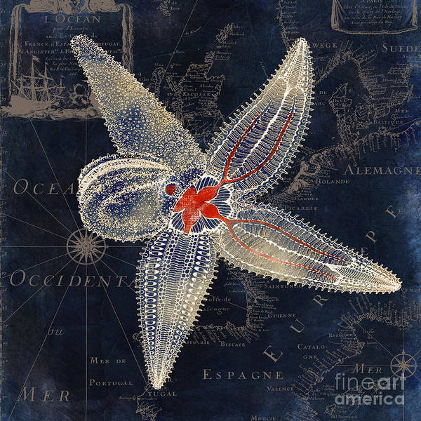 Starfish Painting - Maritime Blues II by Mindy Sommers