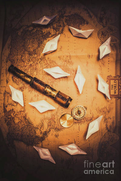 Location Photograph - Maritime Origami Ships On Antique Map by Jorgo Photography - Wall Art Gallery