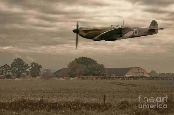 Airbase Photograph - Mark 1 Supermarine Spitfire Flying Past Hanger by Amanda Elwell