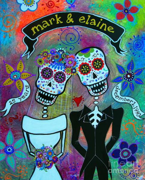 Painting - Mark And Elaine Dia De Los Muertos Wedding Couple by Pristine Cartera Turkus