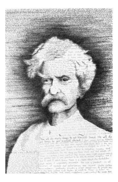 Pen Drawing - Mark Twain In His Own Words by Phil Vance