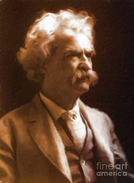 Poetry Painting - Mark Twain, Literary Legend By Mary Bassett by Mary Bassett