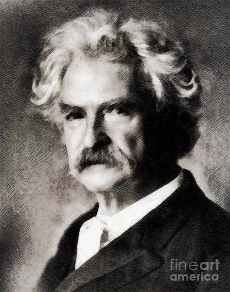 Poetry Painting - Mark Twain, Literary Legend by John Springfield