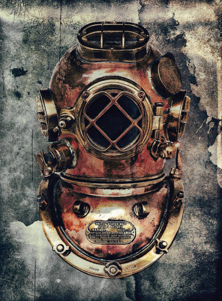 Dive Digital Art - Mark V - Navy Deep Diving Helmet - 1943 by Daniel Hagerman