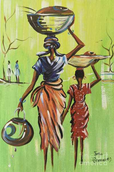 Nigeria Painting - Market For Mother And Daughter by John Bernards