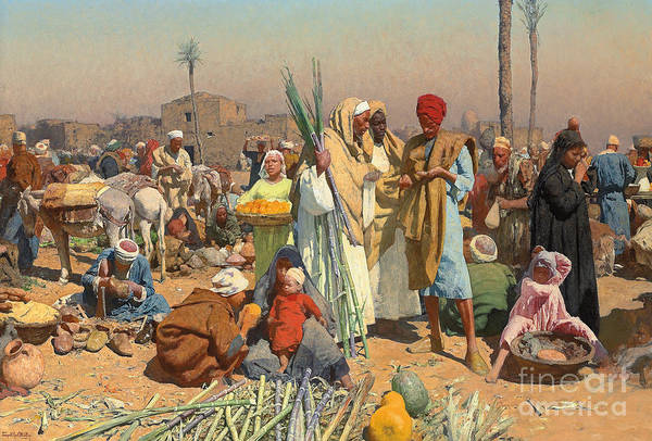 Wall Art - Painting - Market In Lower Egypt  by Leopold Karl Muller