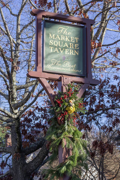 Juniper Berries Wall Art - Photograph - Market Square Tavern Sign 02 by Teresa Mucha