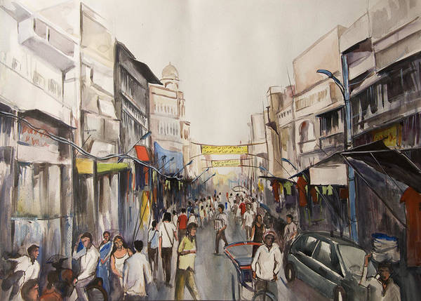 Mumbai Painting - Marketplace by Mrutyunjaya Dash