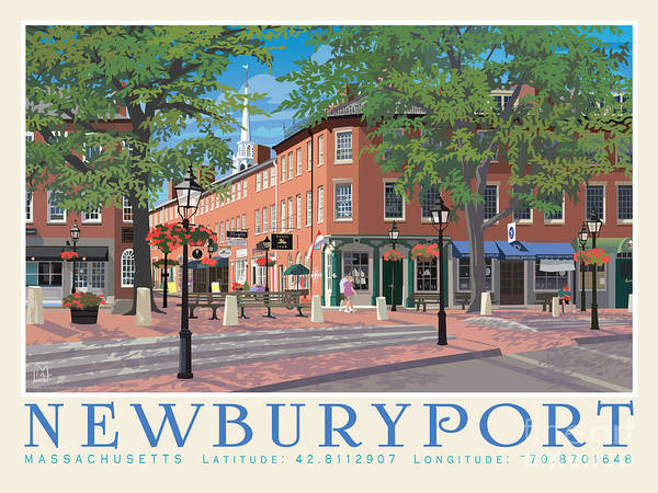 Wall Art - Painting - Marketsquare, Newburyport, Ma by Leslie Alfred McGrath