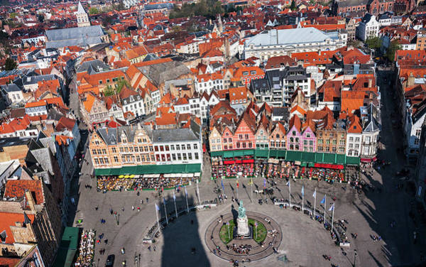 Photograph - Markt Square Bruges From Above - Bruges by Barry O Carroll