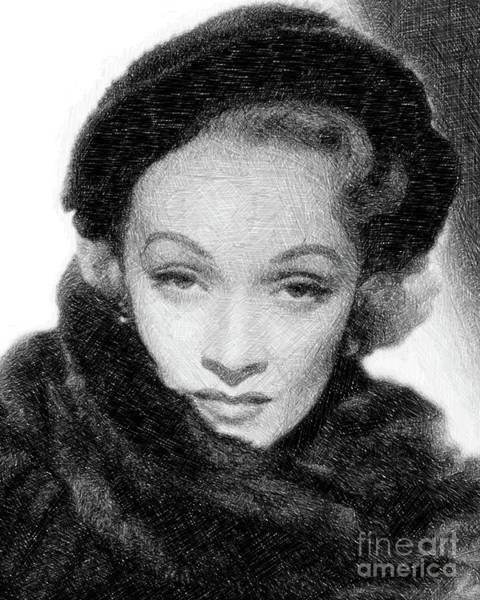 Pinewood Drawing - Marlene Dietrich, Vintage Actress By Js by John Springfield