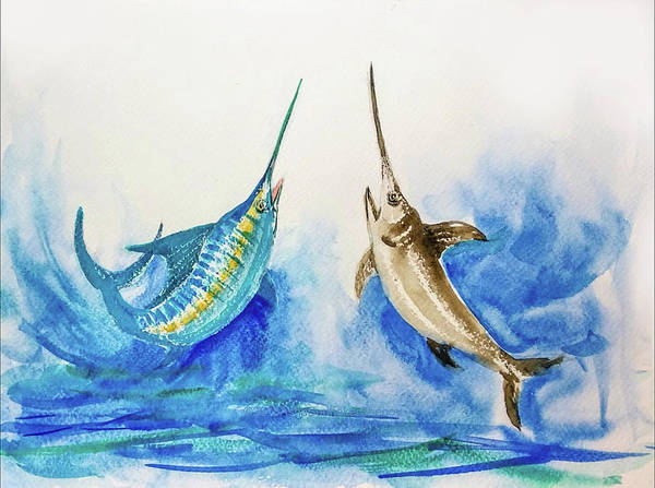 Painting - Marlin And Swordfish Pair One by Asha Sudhaker Shenoy