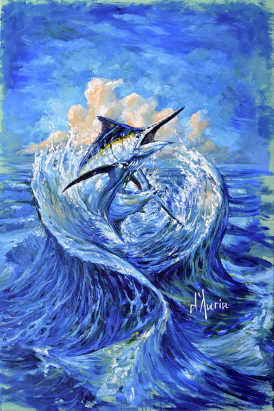 Wall Art - Painting - Marlin In Waves by Tom Dauria
