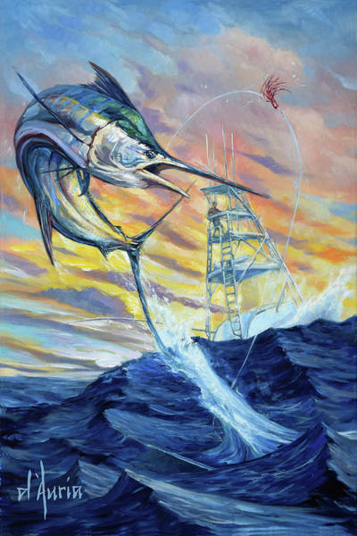 Wall Art - Painting - Marlin Sunset by Tom Dauria