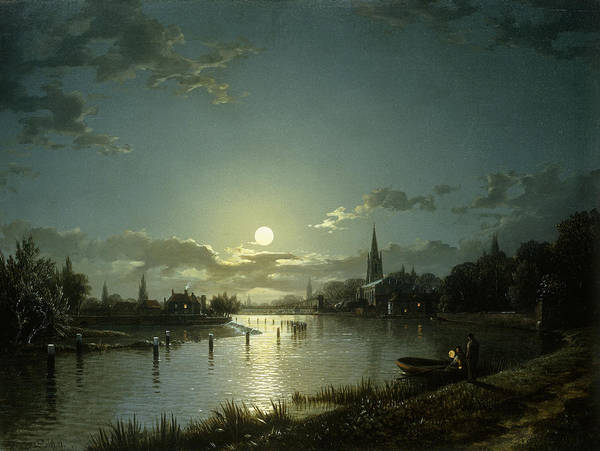 Full Moon Painting - Marlow On Thames by Hnery Pether