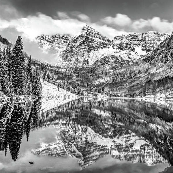 Photograph - Maroon Bells - Aspen Colorado - Black-white - American Southwest 1x1 by Gregory Ballos