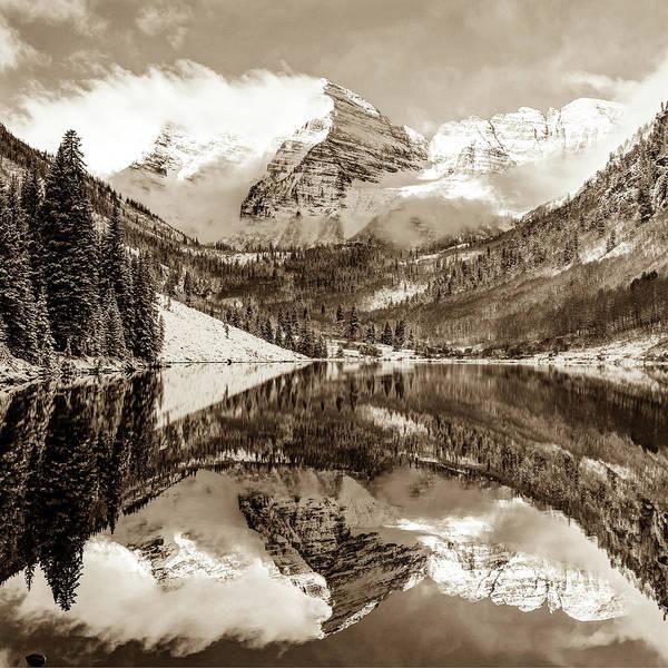 Photograph - Maroon Bells - Aspen Colorado - Sepia Edition - American Southwest 1x1 by Gregory Ballos