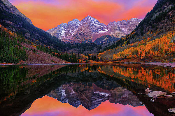Photograph - Maroon Bells Autumn Sunrise by Greg Norrell