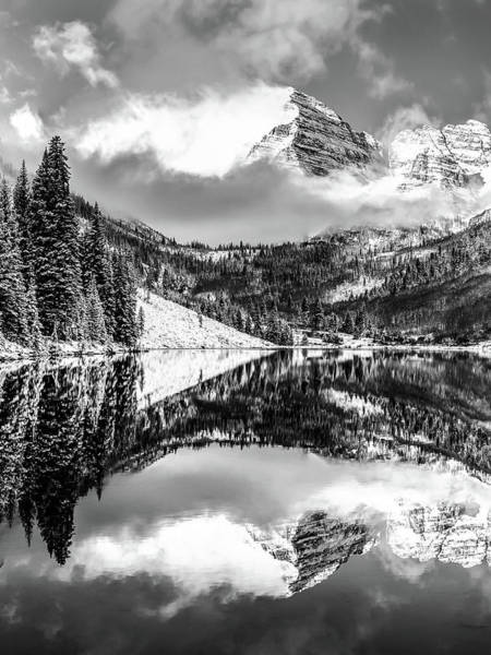 Photograph - Maroon Bells - Black And White by Gregory Ballos