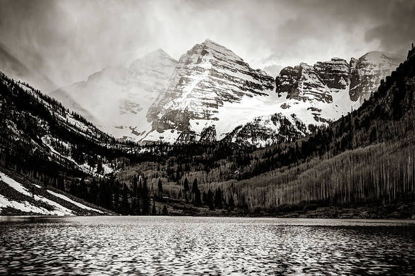 Photograph - Maroon Bells Cloudy Mountain Landscape - Sepia Wall Art by Gregory Ballos