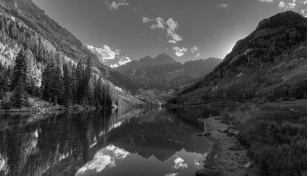 Wall Art - Photograph - Maroon Bells Colorado B W by Steve Gadomski