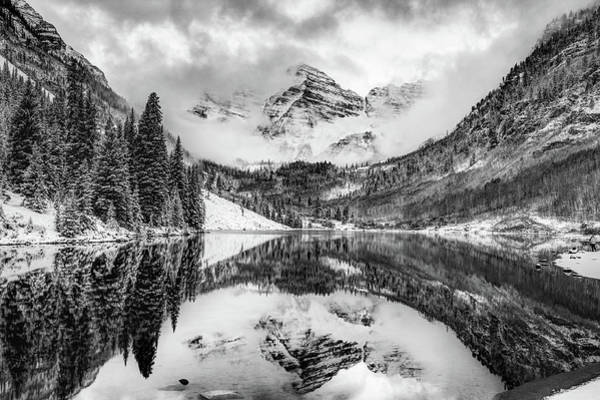 Photograph - Maroon Bells Covered In Clouds - Black And White by Gregory Ballos