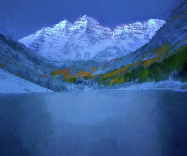 Digital Art - Maroon Bells Early Morning Abstract by OLena Art - Lena Owens