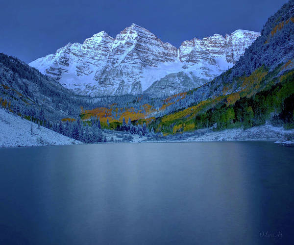 Photograph - Maroon Bells Early Morning  by OLena Art - Lena Owens