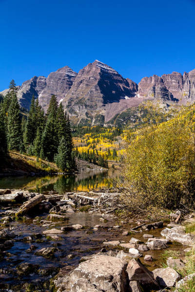 Photograph - Maroon Bells From Maroon Creek by Teri Virbickis