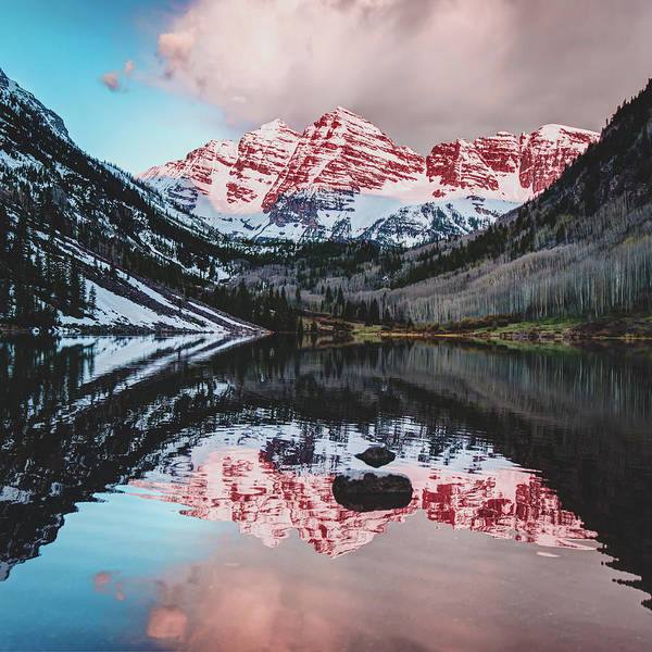 Photograph - Maroon Bells - Maroon Lake Reflections - Square Format by Gregory Ballos