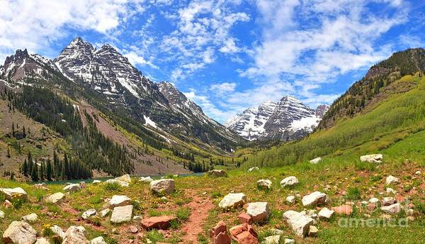 Photograph - Maroon Bells Meadows Panorama by Adam Jewell