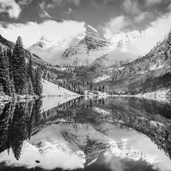 Photograph - Maroon Bells Monochrome Mountain Landscape - Aspen Colorado 1x1 by Gregory Ballos