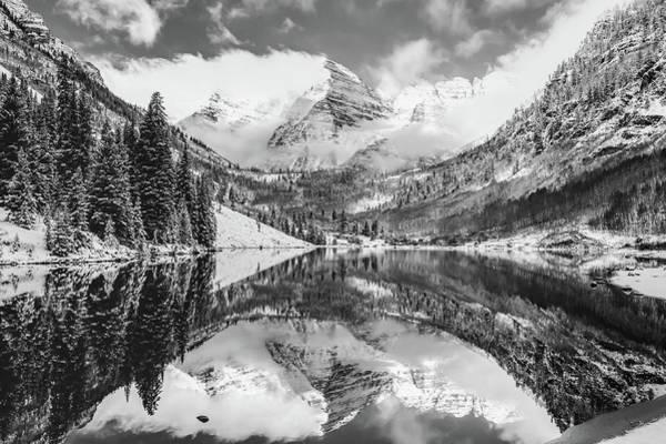 Photograph - Maroon Bells Monochrome Mountain Landscape - Aspen Colorado by Gregory Ballos