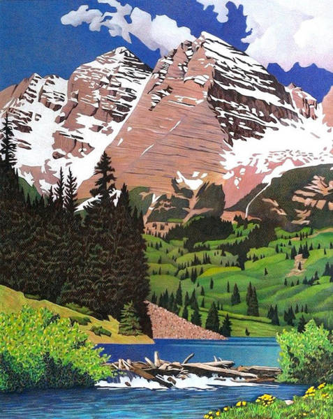 Evergreen Trees Drawing - Maroon Bells Spring by Dan Miller