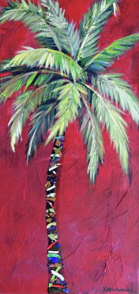 Maroon Palm Tree Art Print