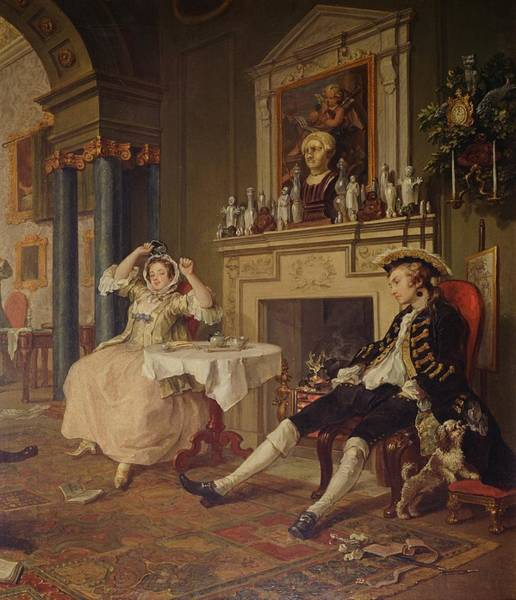 Merchant Painting - Marriage A La Mode II The Tete A Tete by William Hogarth