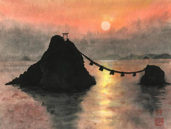 Wall Art - Painting - Married Couple Rocks At Sunset by Terri Harris