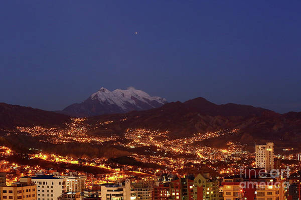 Photograph - Mars Above La Paz City And Mt Illimani Bolivia by James Brunker