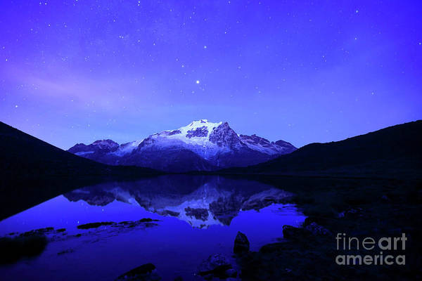 Photograph - Mars Above Mt Huayna Potosi Before Dawn by James Brunker