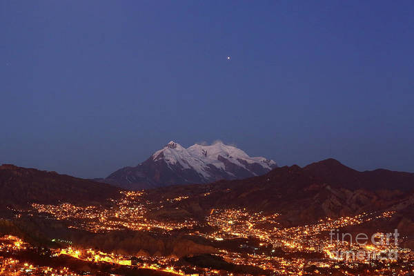 Photograph - Mars Above Mt Illimani La Paz Bolivia by James Brunker