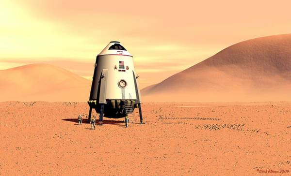 Digital Art - Mars Lander Ares First Steps by David Robinson